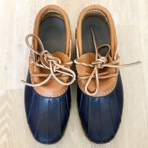 LL Bean Duck Ankle Rubber Leather Blue Boots Moc 6